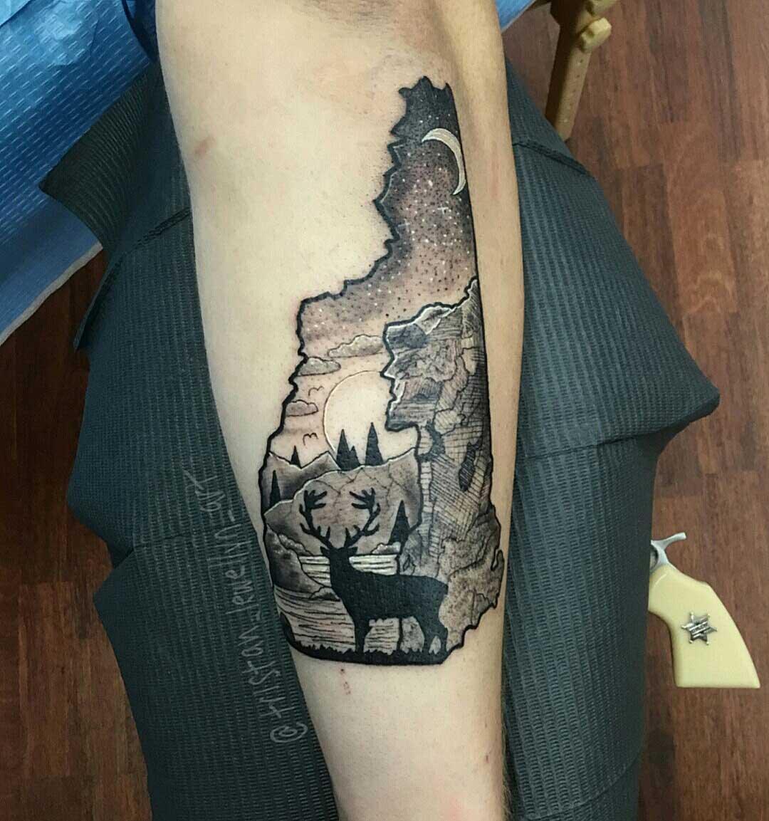 New-Hampshire-tribute,-landscape,-forearm,-blackwork-