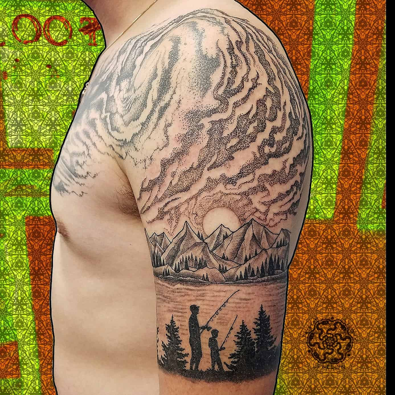 dotwork and blackwork tattoo of landscape and sky