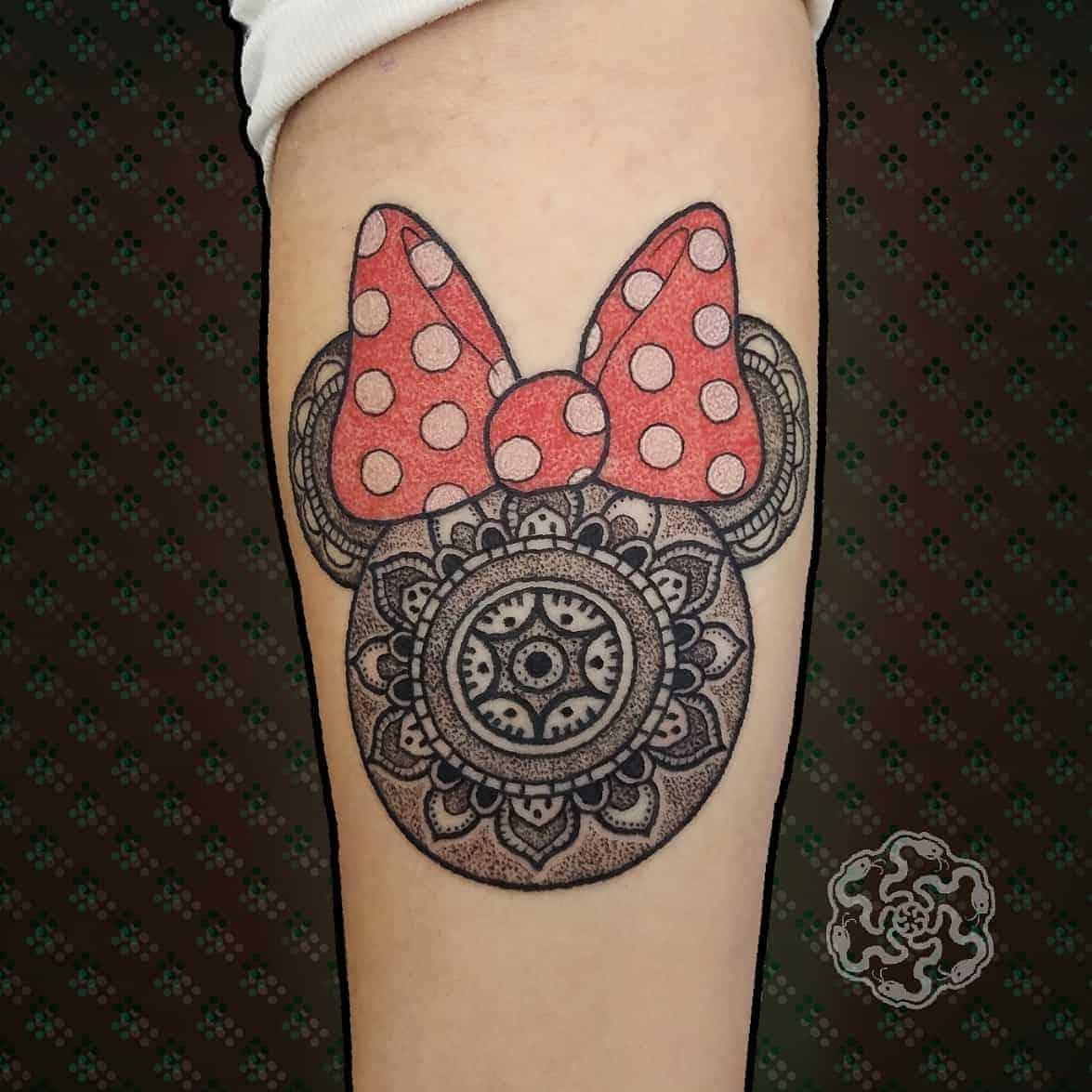 geometric tattoo of minnie mouse