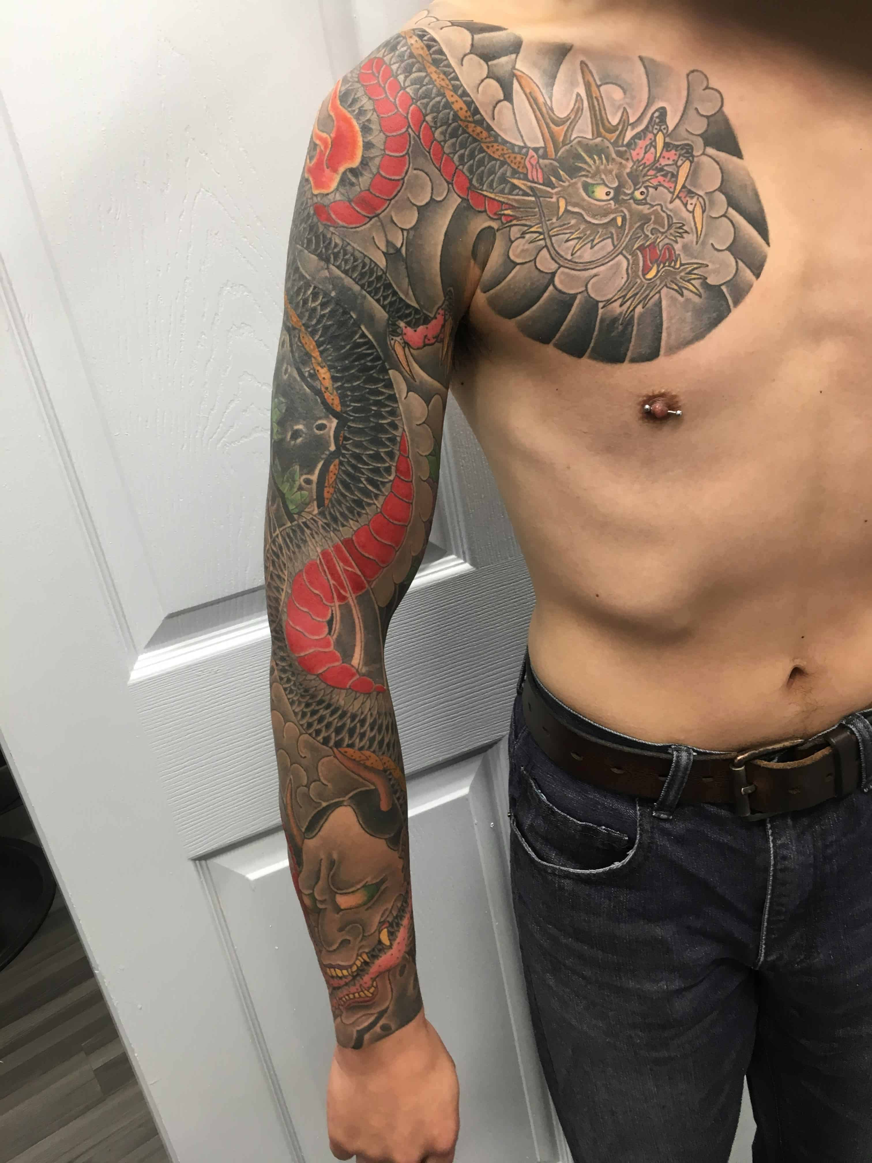 Cover-up-tattoo-of-Japanese-style-dragon-by-Ei-Omiya