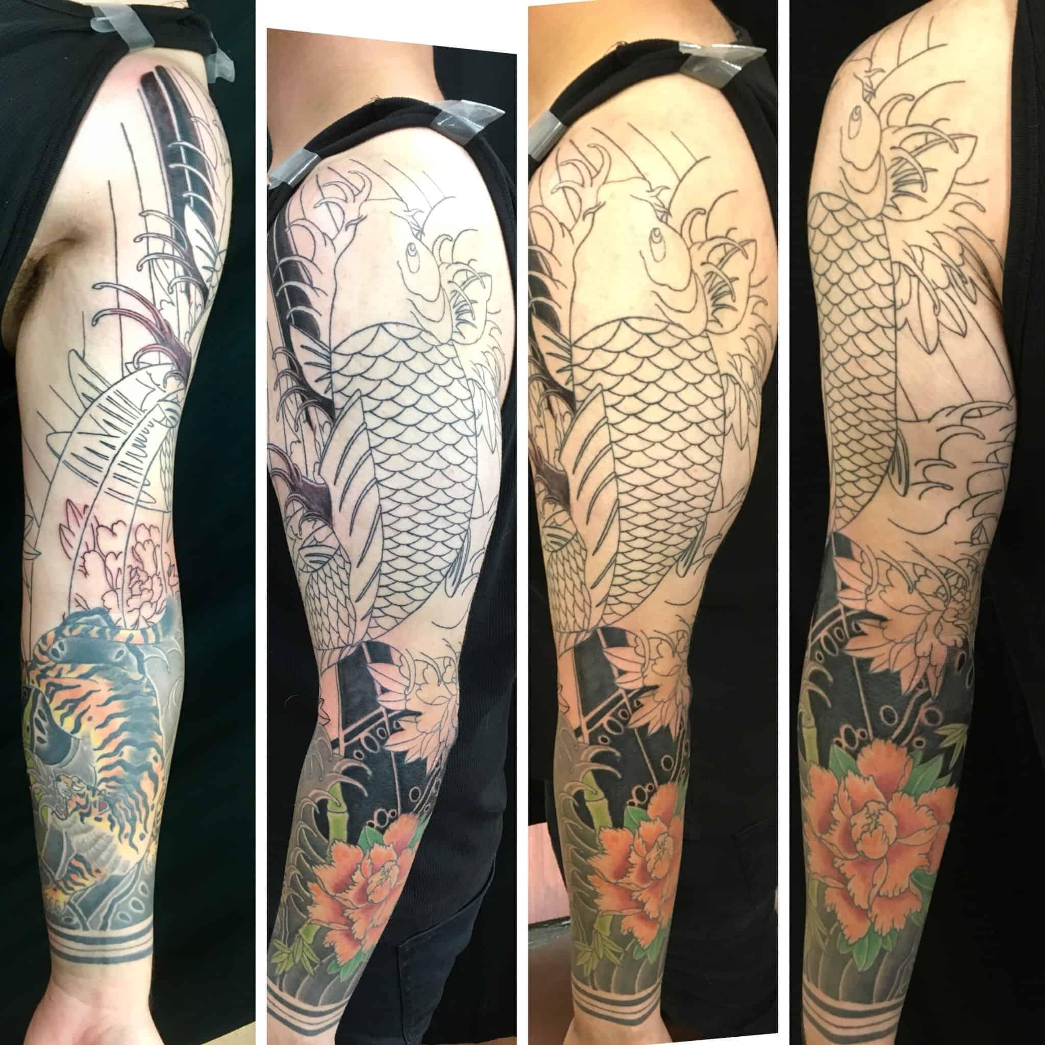 Japanese-style-sleeve-with-Koi-tiger-and-peony-by-Ei-Omiya