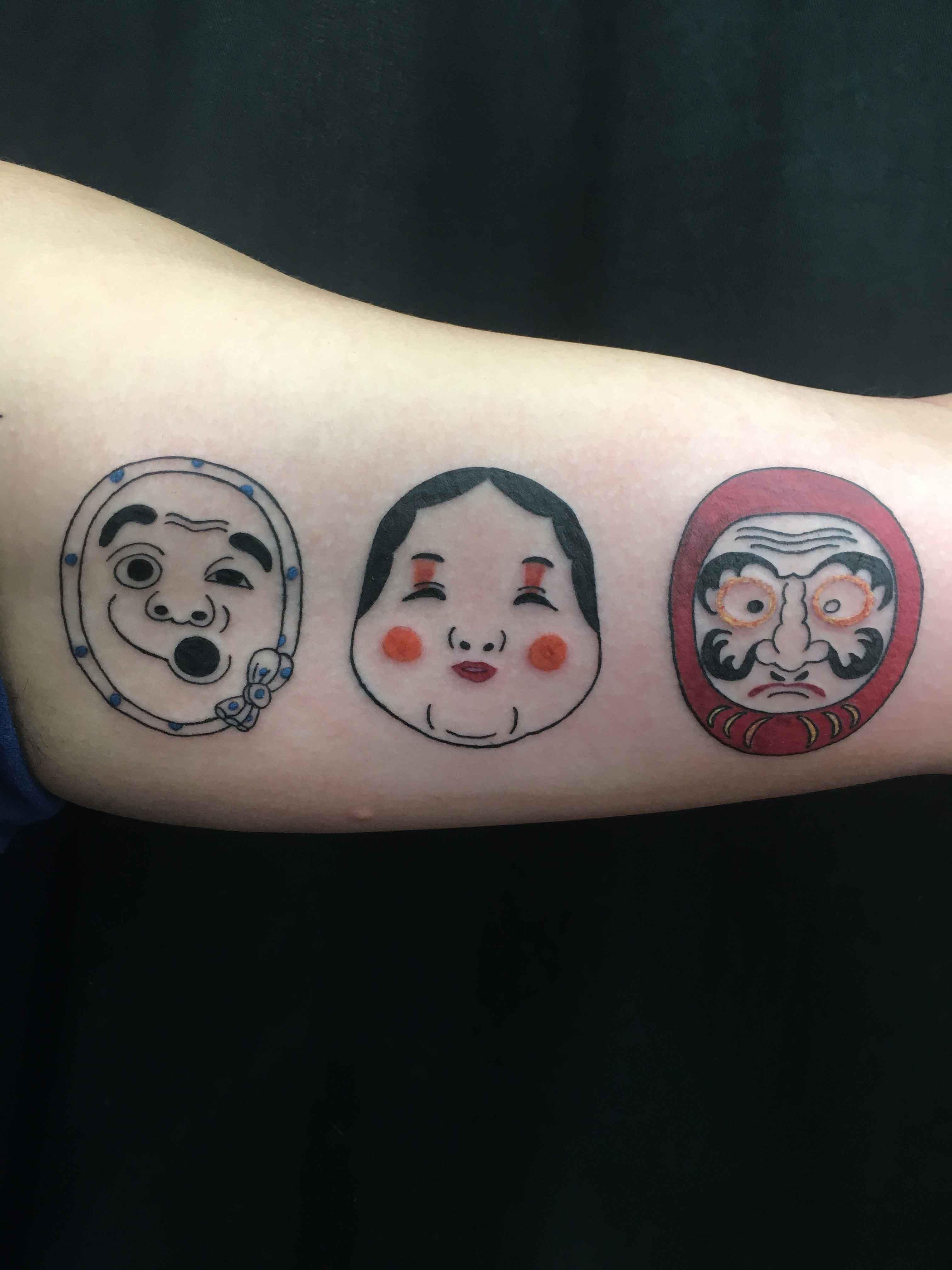 japanese cartoon faces by Ei Omiya at Funhouse Tattoo in San Diego