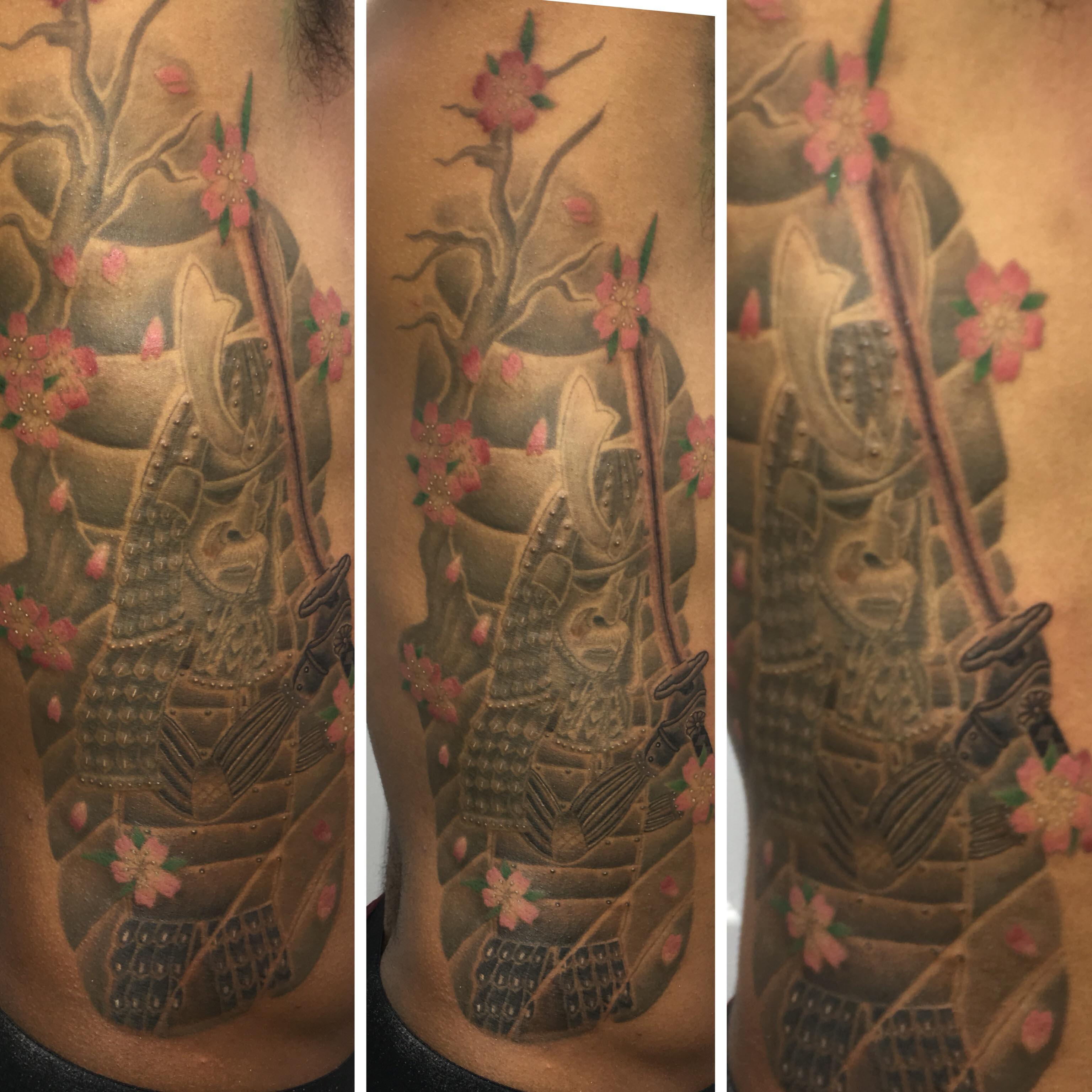 japanese samurai tattoo by Ei Omiya close up