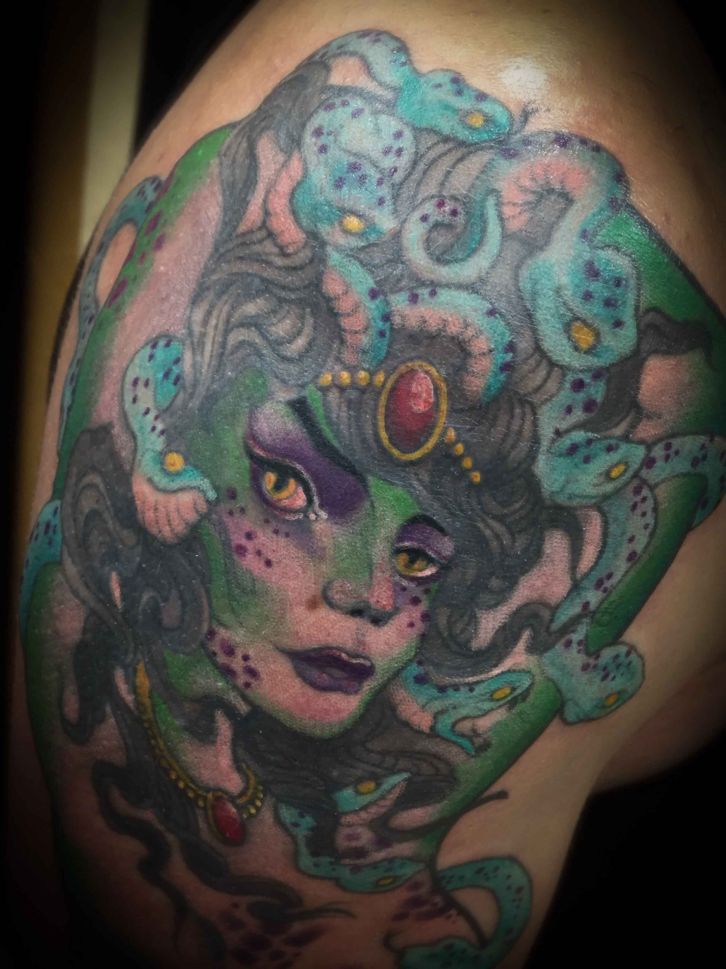 medusa-head-tattoo-in-color-by-by-resident-Funhouse-Tattoo-artist-Leo-Cadanezzi-in-San-Diego