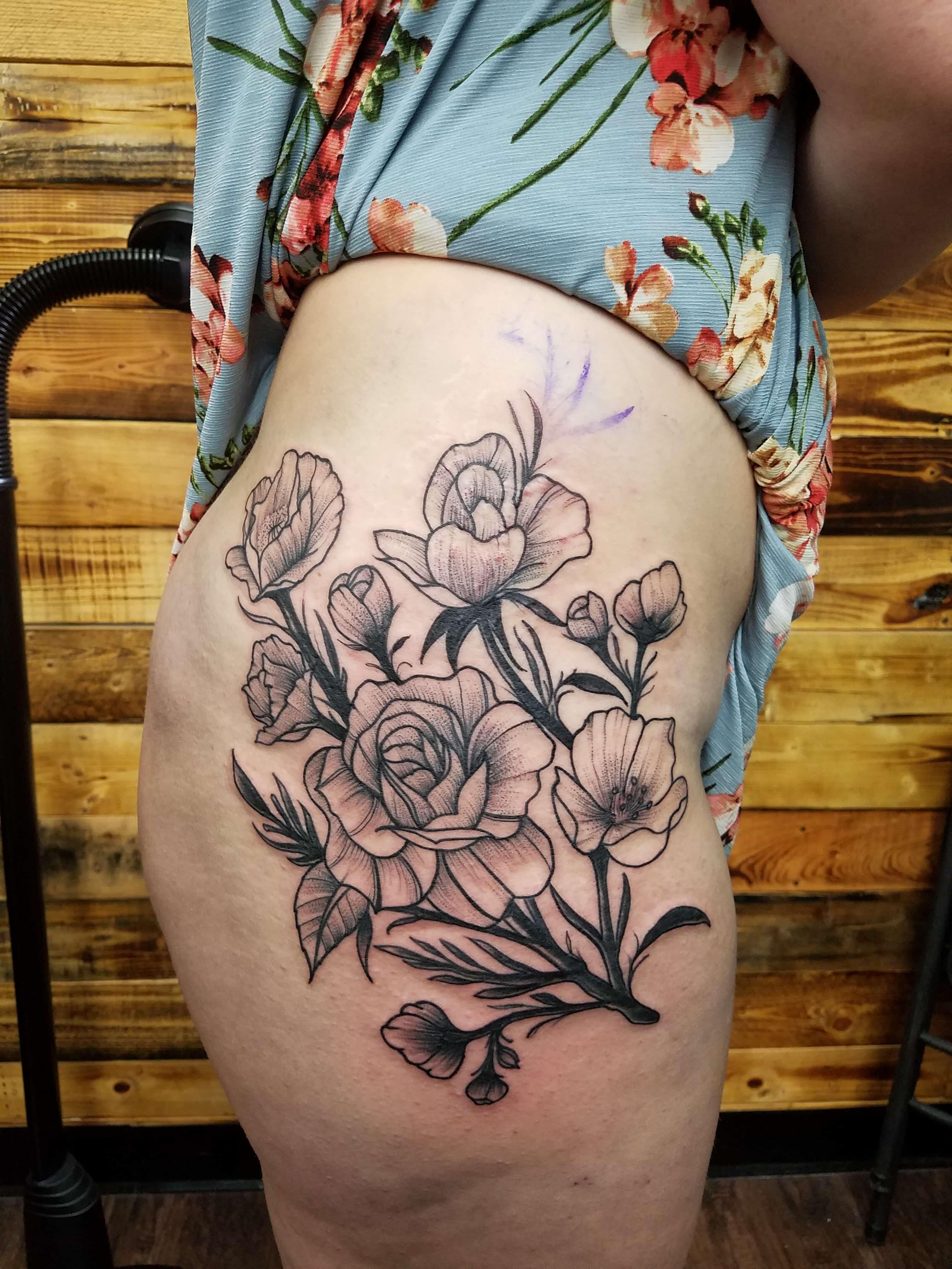 Black work roses tattoo-min