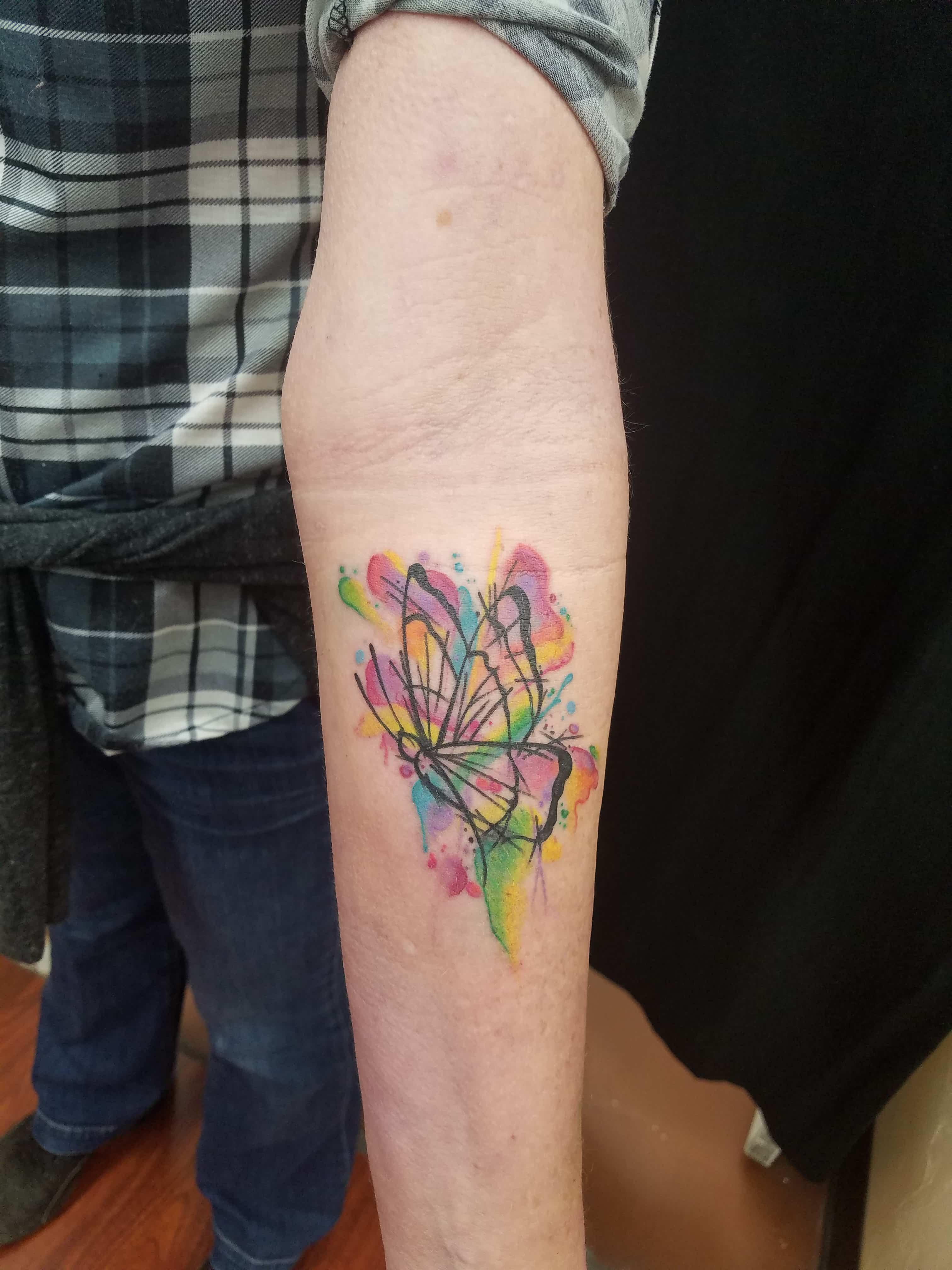 Watercolor butterfly tattoo-min