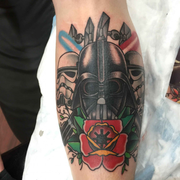 American-traditional-Star-Wars-darth-Vader-with-storm-troopers-and-light-sabers-tattoo