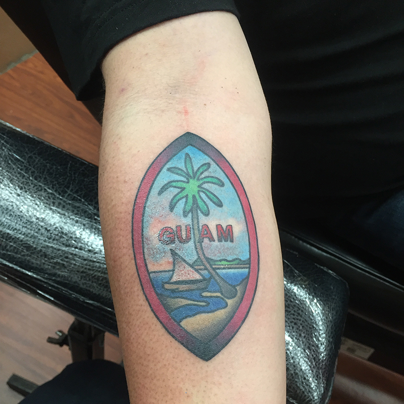 American traditional Guam flag tattoo