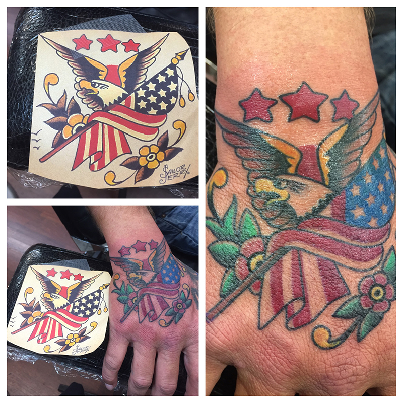 American traditional sailor jerry eagle with flag and flowers on hand