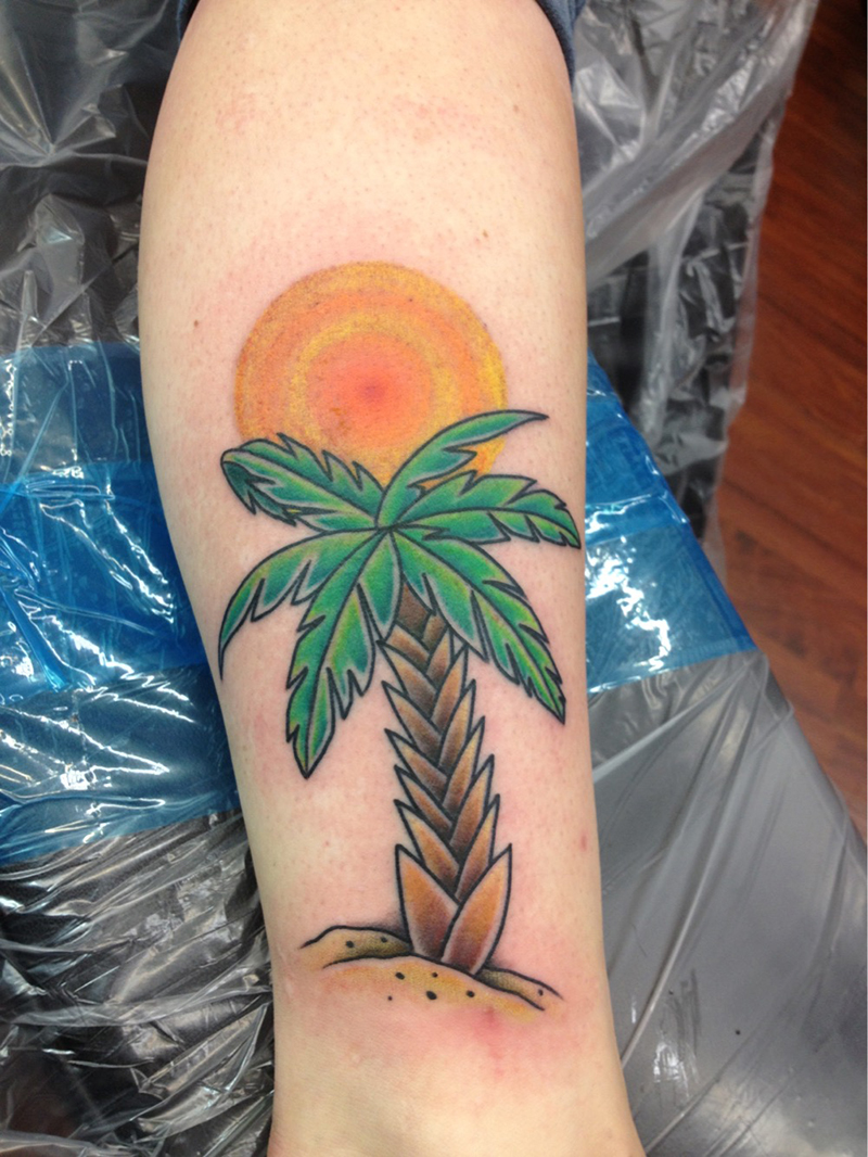 American traditional style palm tree tattoo