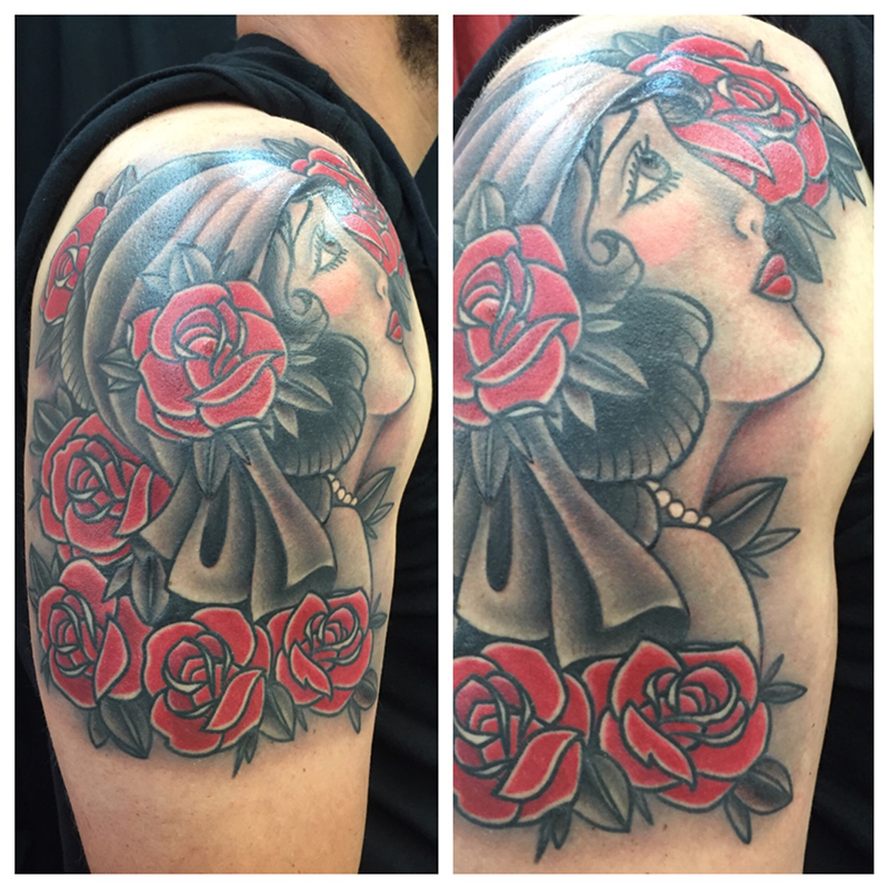 American traditional tattoo black and grey and color gypsy girl head with roses