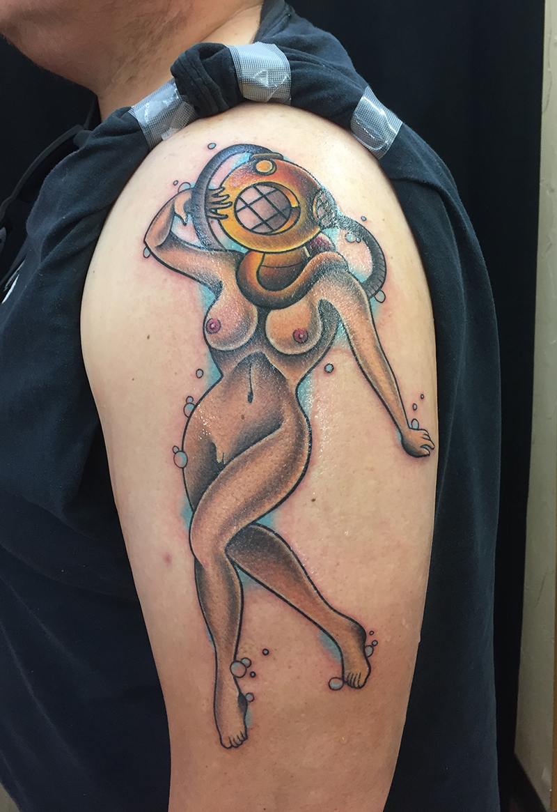 American traditional tattoo of nude diver pin up girl