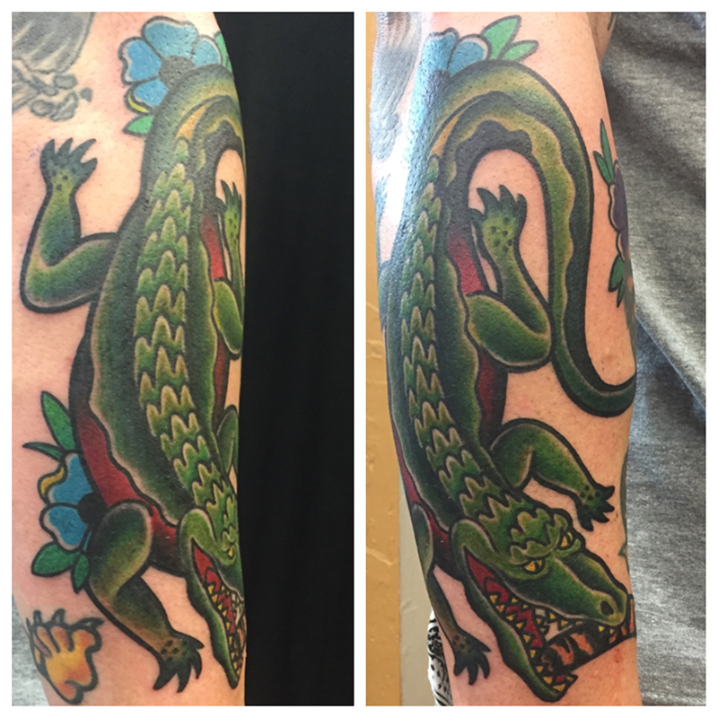 traditional style tattoo alligator tattoo