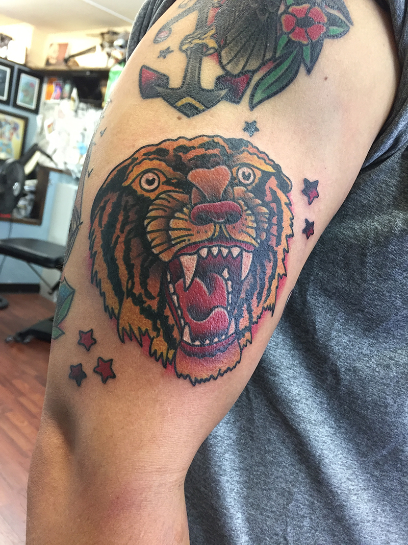 traditional style tattoo sailor jerry tiger head tattoo