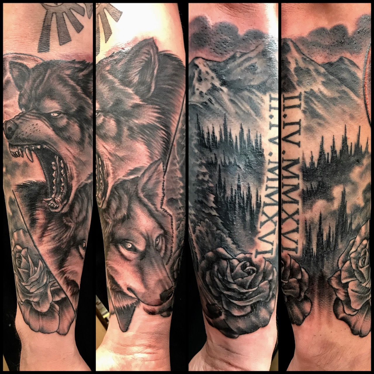 Black and grey tattoo style of wolves and the wilderness in realism