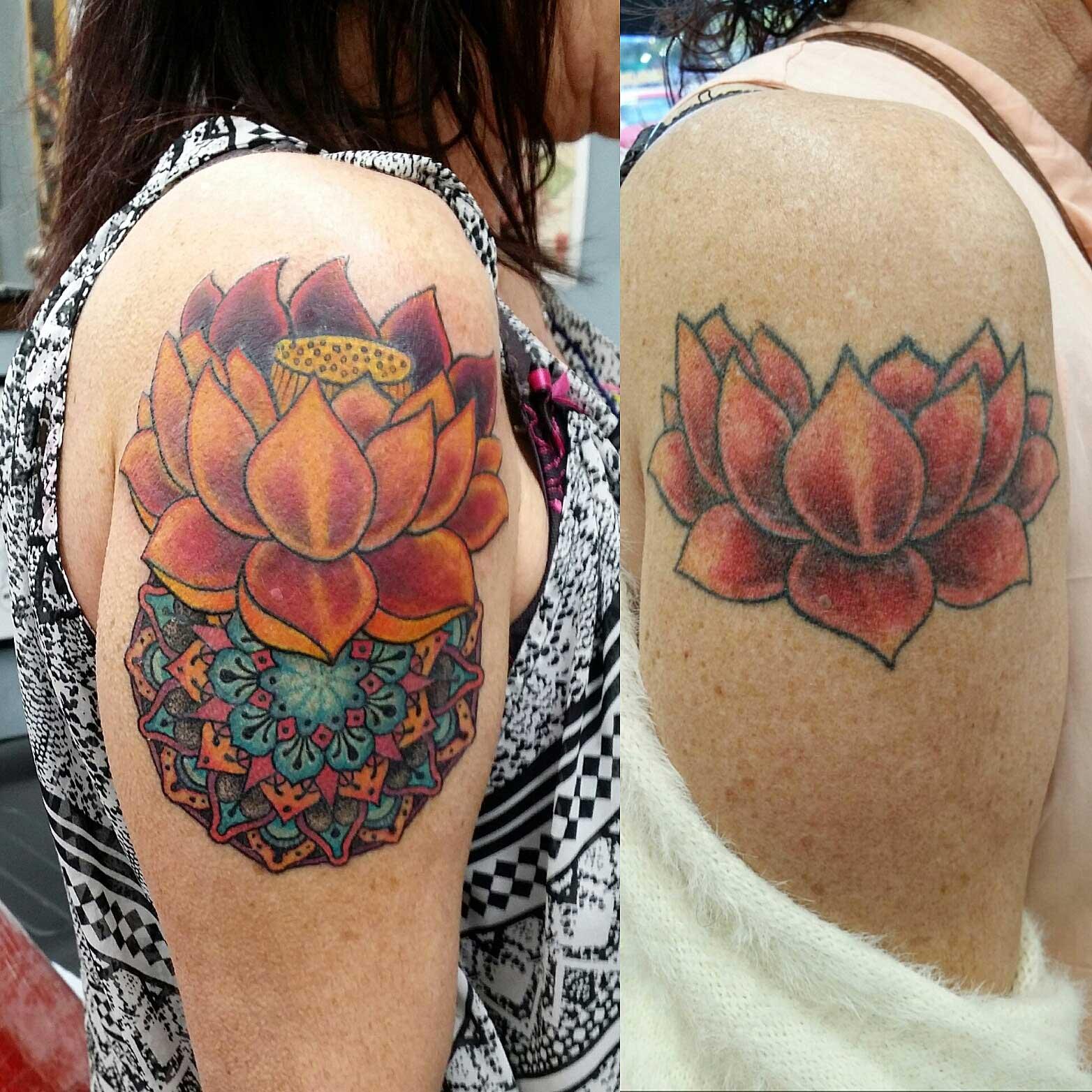 Tristan lewellyn tattoo artist at funhouse tattoo san diego geomtric mandala tattoo of lotus on upper arm izmirmasajfo