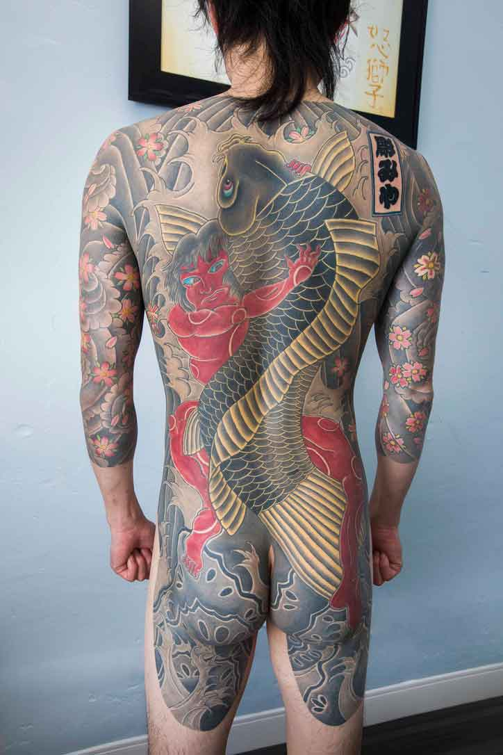 Japanese style back tattoo by Ei Omiya