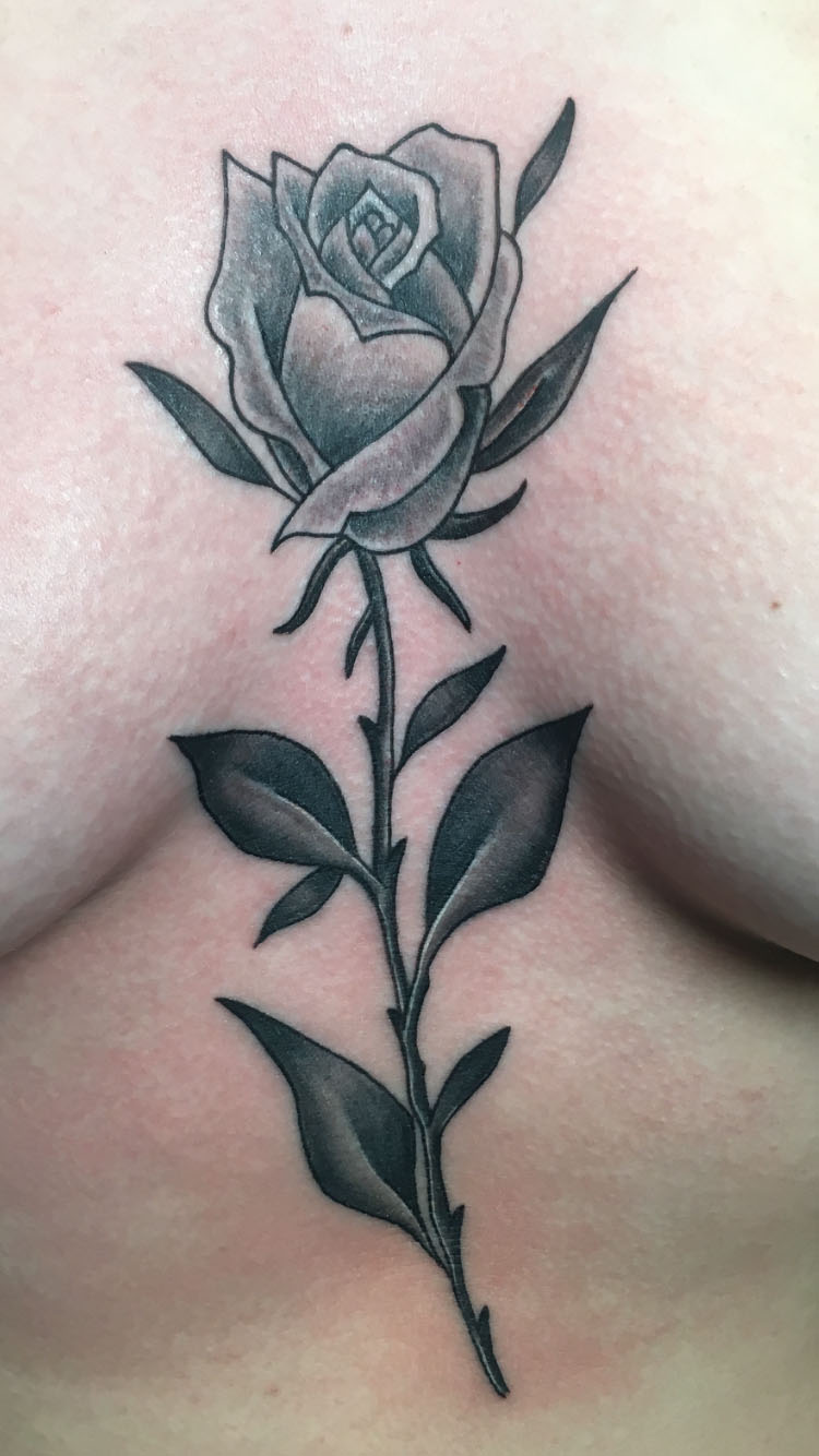 black rose tattoo by Ei Omiya at Funhouse Tattoo San Diego