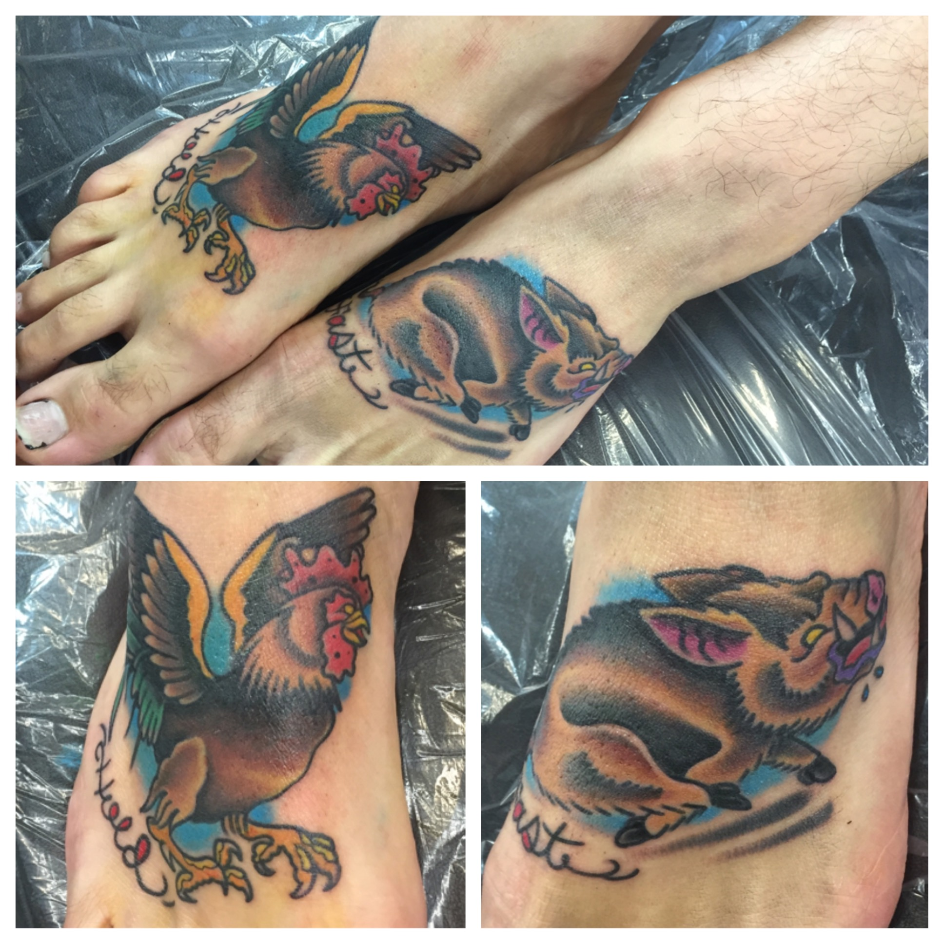American traditional tattoo of rooster and pig on feet