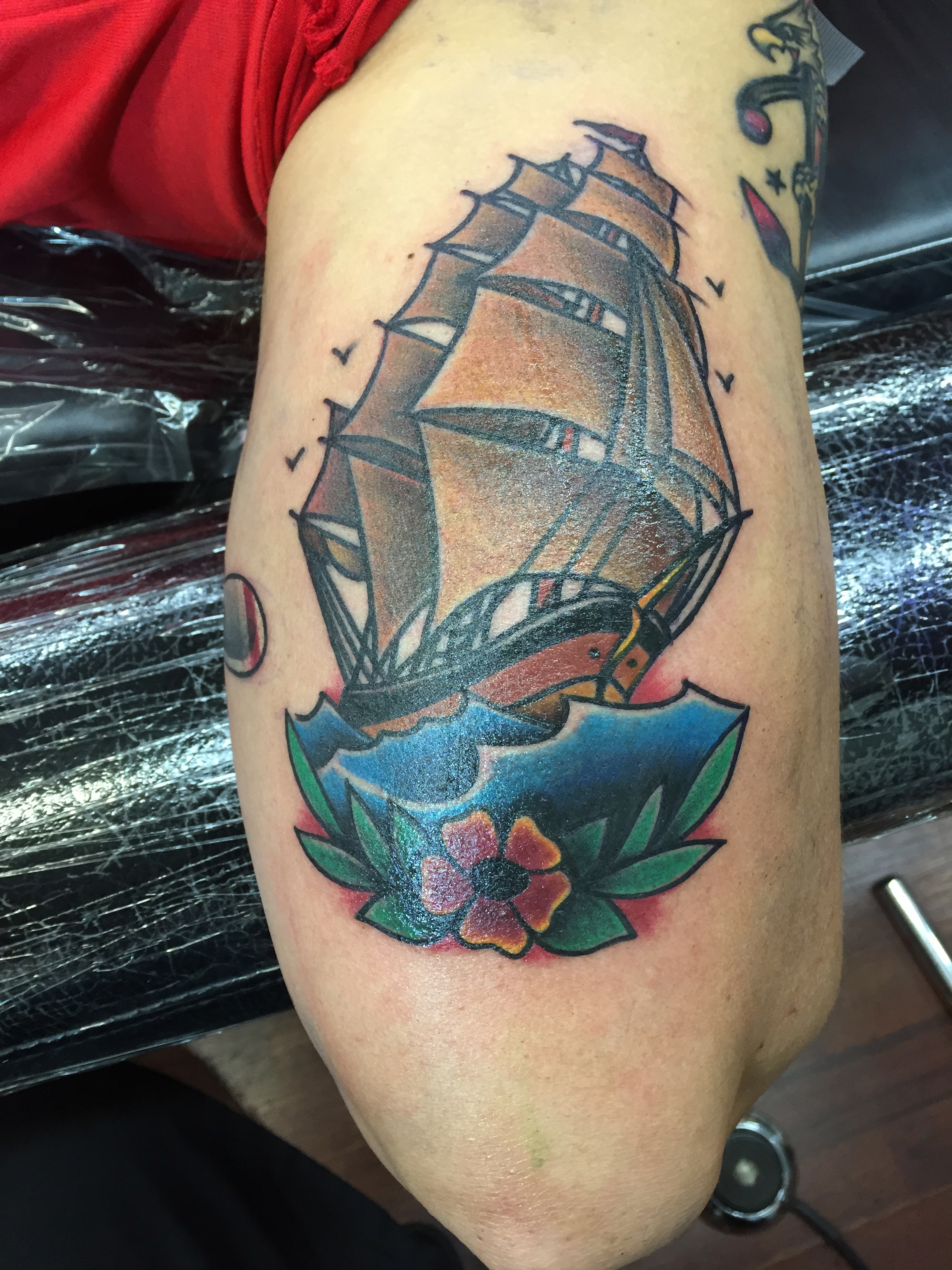 American traditional tattoo of ship
