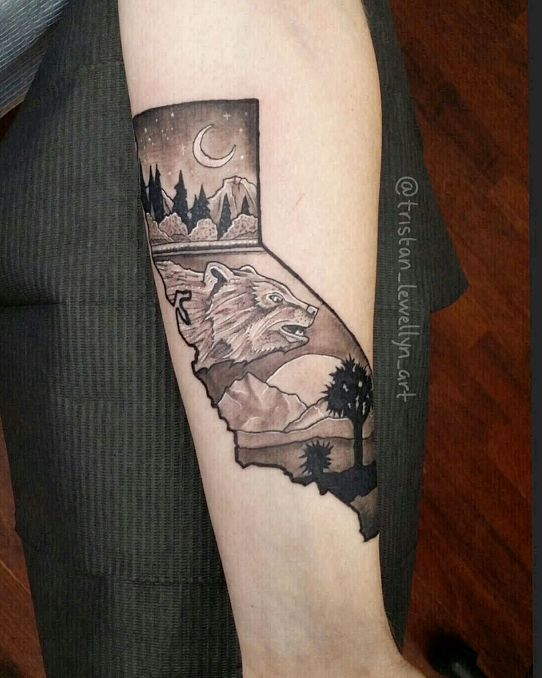 California Tattoo In Blackwork Style With Landscape