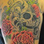 skull roses and filigree